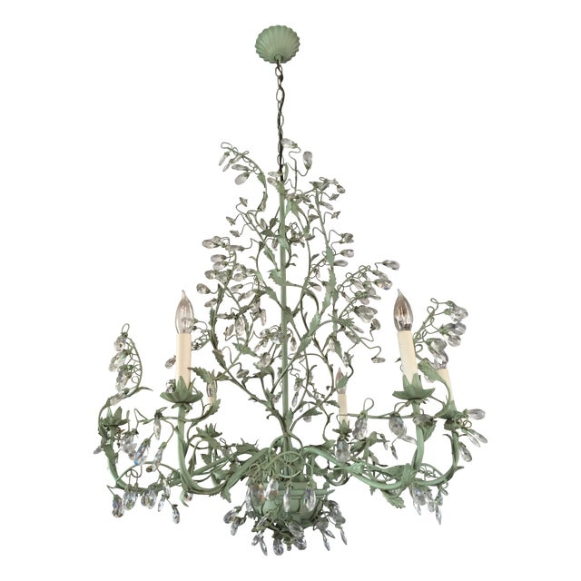 Tole Verdigris Iron and Crystal Chandelier - Image 1 of 5