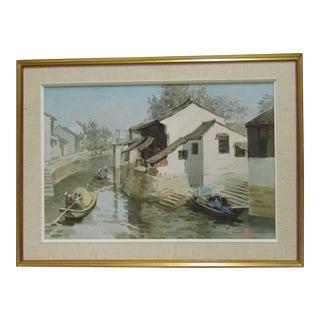 Boats on a Canal Oil Painting by Wang Ren Ji