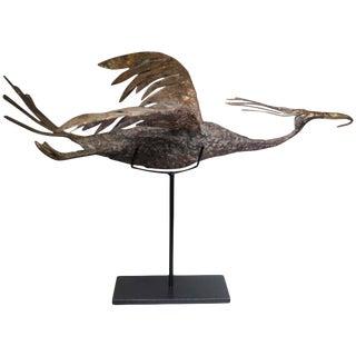 Mid-century Brutalist Bronze, Copper, Brass Bird Sculpture on custom steel stand c. 1960s