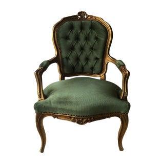Tufted Velvet Gilded Wood Chair