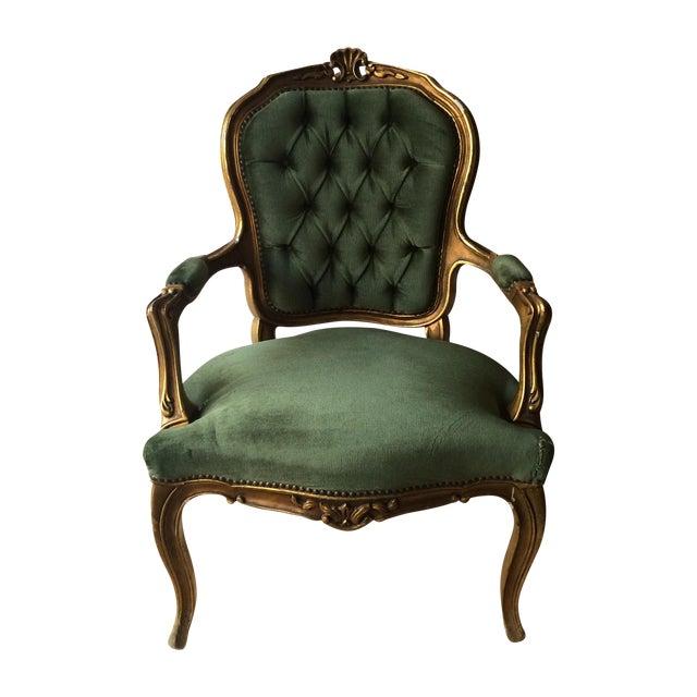 Tufted Velvet Gilded Wood Chair Chairish