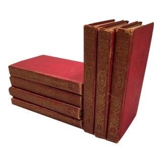 Antique 1910 Red & Gold Literature Books - 7