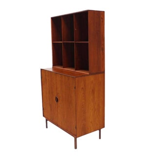 Peter Hvidt Solid Teak Bookcase Two Doors Chest of Drawers Cabinet Dowel Legs