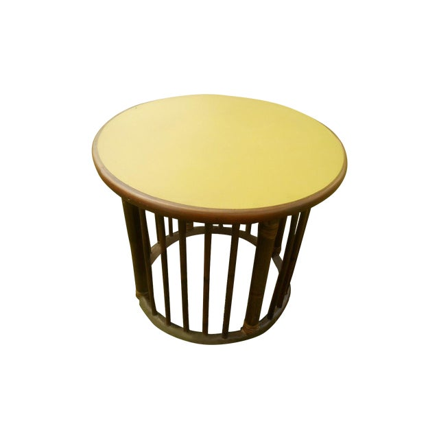 Image of Mid-Century Calif-Asia Round Rattan End Table