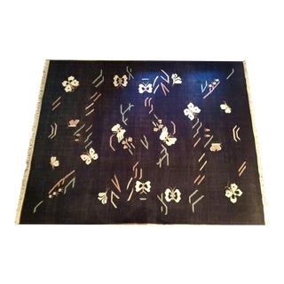 "Navy Flat Weave Butterfly Rug - 8'1"" x 10'6"""
