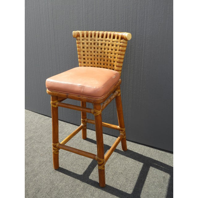 McGuire Bamboo Barstools with Laced Rawhide - Set of 3 - Image 7 of 11