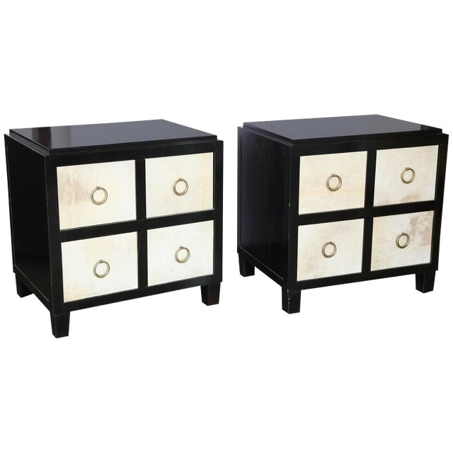 A Pair of French Moderne style Ebonized Wood and Vellum Bedside Cabinets - Image 1 of 7