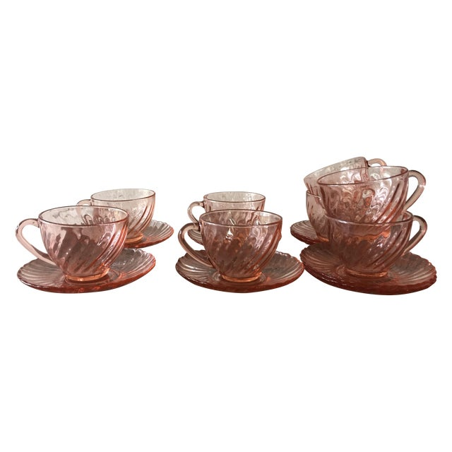 French Rosaline Tea Cups & Saucers - Set of 16 - Image 1 of 5