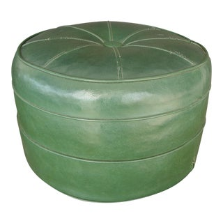 Mid-Century Modern Round Green Ottoman