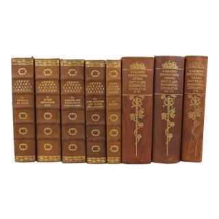 Art Deco Leather-Bound Books - Set of 8