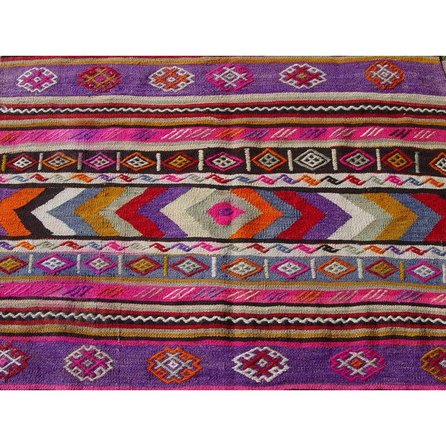 "Image of Vintage Turkish Purple Kilim Rug - 3'9"" x 5'1"""
