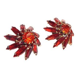 Emmons Red-Orange Rhinestone Earrings