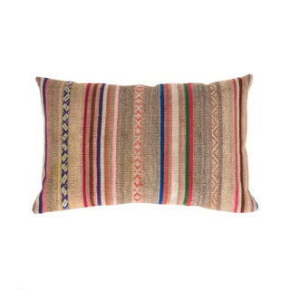 Grey & Tan Striped Handwoven Peruvian Pillow