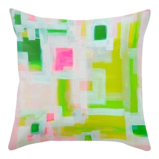 Pink & Green Art Throw Pillow