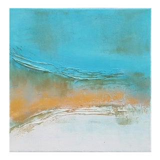 Abstract Modern Textured Metallic Gold & Turquoise Painting on Canvas