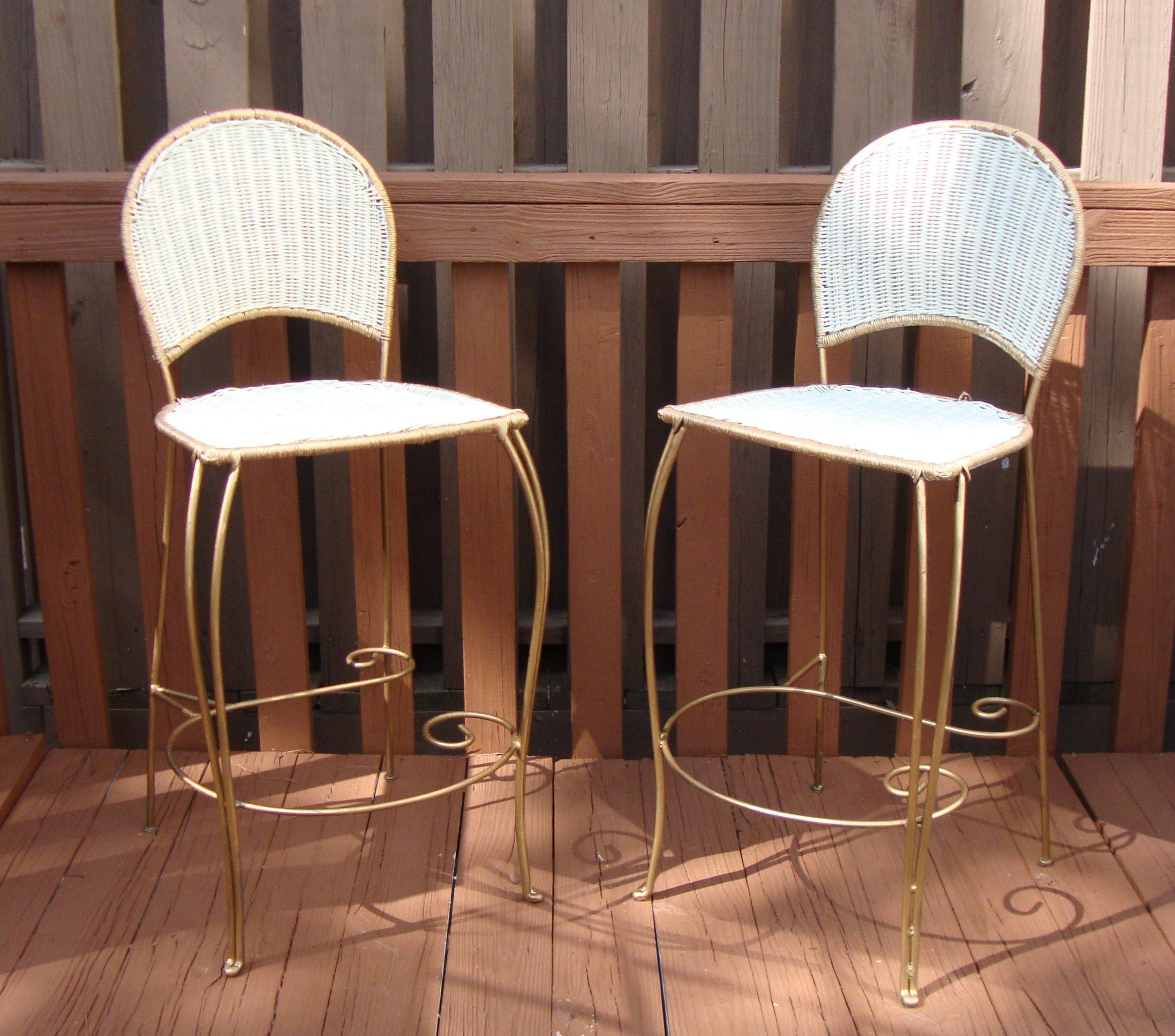 Gilt Wicker Wrought Iron Bar Stools A Pair Chairish
