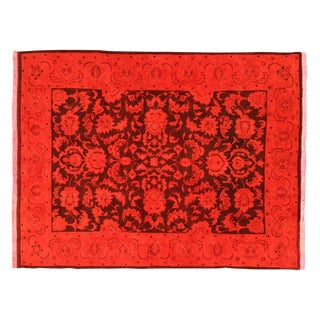 "Elegant Red Overdyed Rug - 7'6"" X 9'8"""