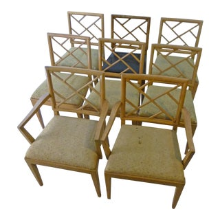 1940s Landstrom Mid-Century Modern Lattice Back Dining Chairs - Set of 8