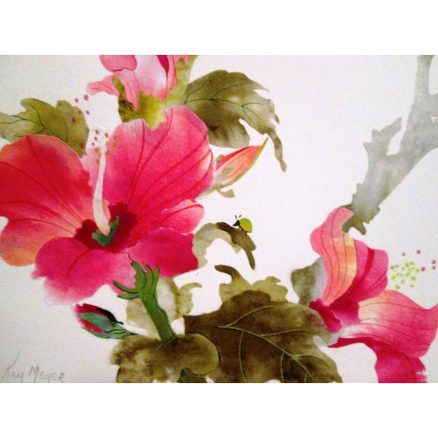 Image of Yellow Sparrow & Pink Hibiscus Watercolor