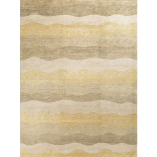 Modern Contemporary Hand Knotted Wool Rug - 9′5″ × 12′2″