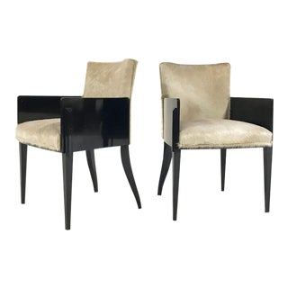 Black Lacquered & Brazilian Cowhide Chairs - A Pair
