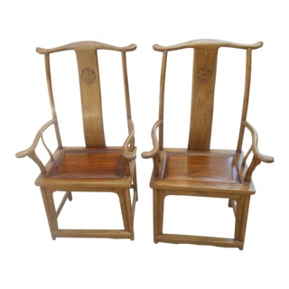 Asian Inspired Yoke Dining Room Arm Chairs - A Pair