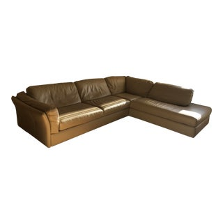 Natuzzi Taupe Leather Sectional