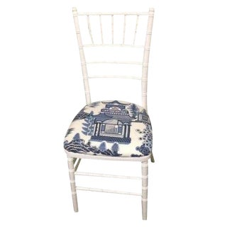 White Bamboo & Blue Schumacher Fabric Chair