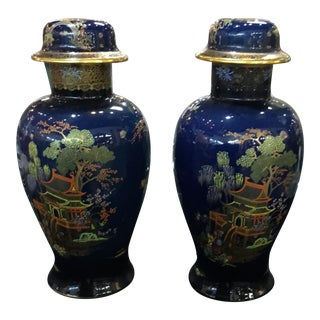 Antique Carleton Ware Urns With Foo Dog Finials - A Pair