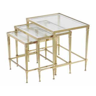Directoire Brass Glass Top Nesting Tables - S/3