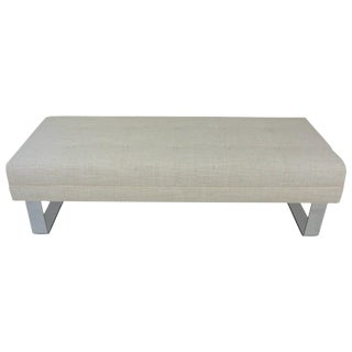 Mid-Century Upholstered Bench with Polished Chrome: Milo Baughman,1970s