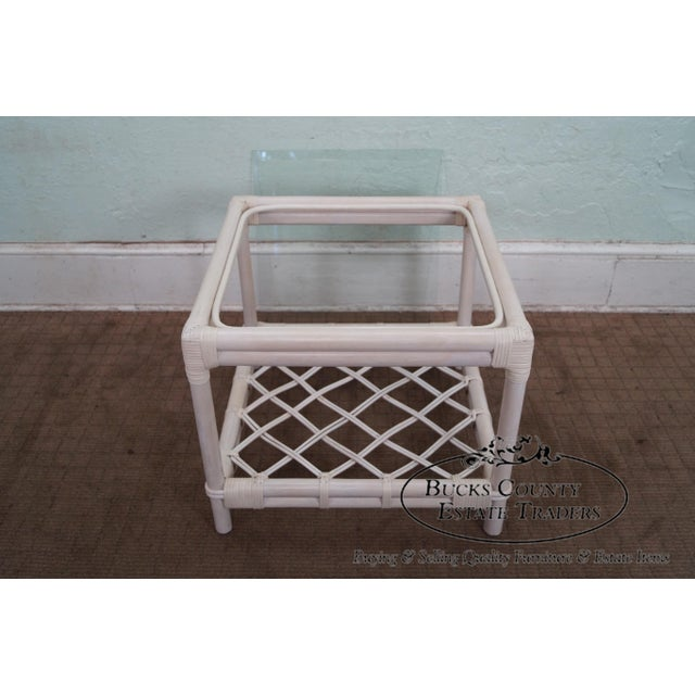Ficks Reed Painted Rattan Glass Top End Table - Image 4 of 11