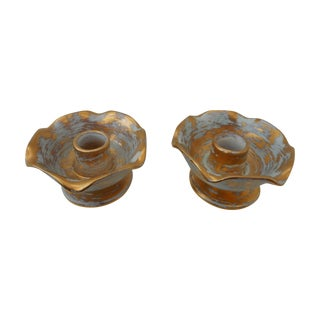 Blue And Gold Stangl Candleholders - Pair