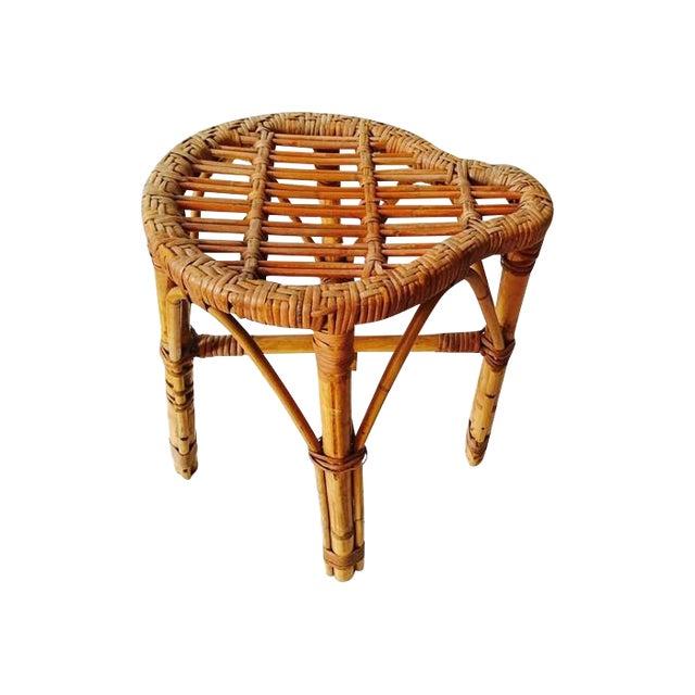 Vintage bamboo rattan stool chairish