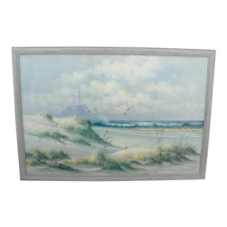 Vintage Oil on Canvas Painting Seascape Beach by K. Garman