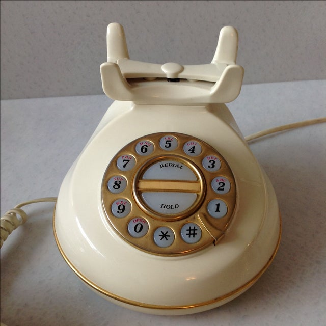 Vintage Cream and Gold Phone - Image 5 of 6
