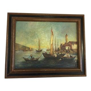 European Harbor Scene & Boats Oil Painting