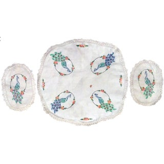 Vintage Peacock Embroidered Ecru Doilies - S/3