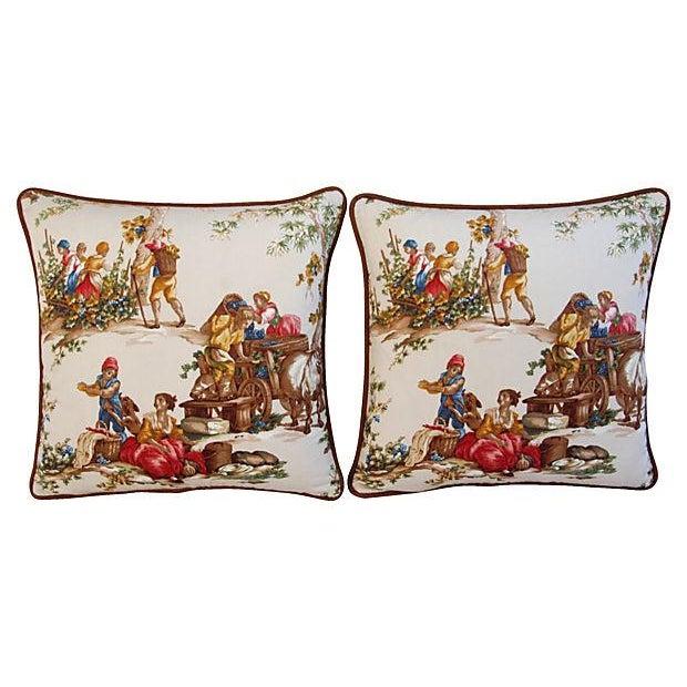 Designer Kravet Guinevere Wine Toile Pillows -Pair - Image 5 of 7