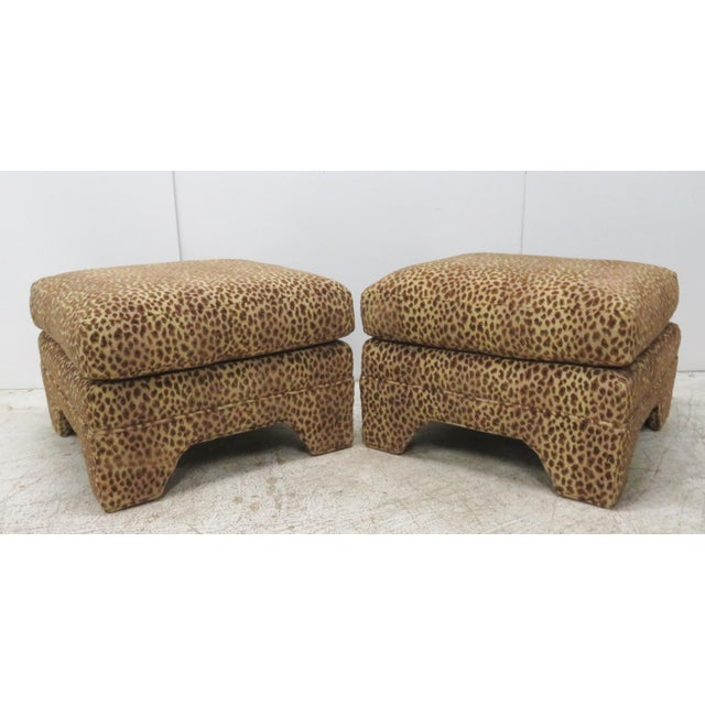Leopard Upholstered Ottomans - A Pair - Image 5 of 5