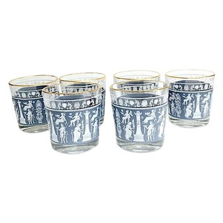Slate Blue & Gold Trim Barware Glasses - Set of 6