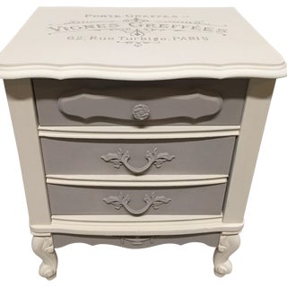 Vintage French Provincial White & Gray Nightstand