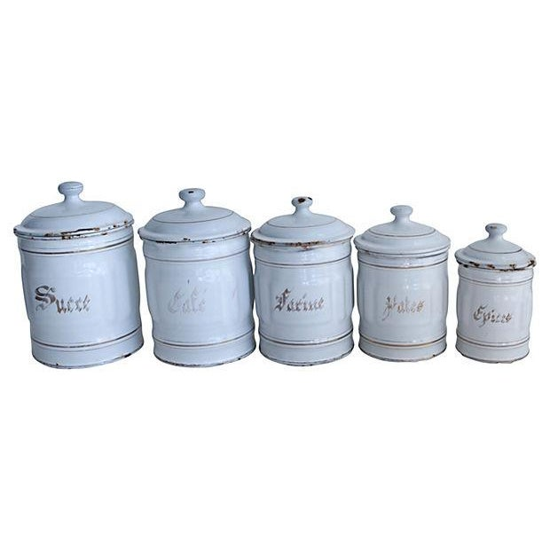 Vintage French Enamel Kitchen Canisters - Set of 5 - Image 1 of 3