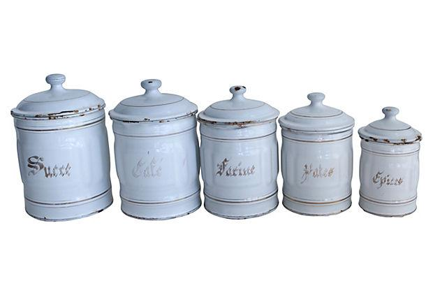 vintage french enamel kitchen canisters set of 5 chairish