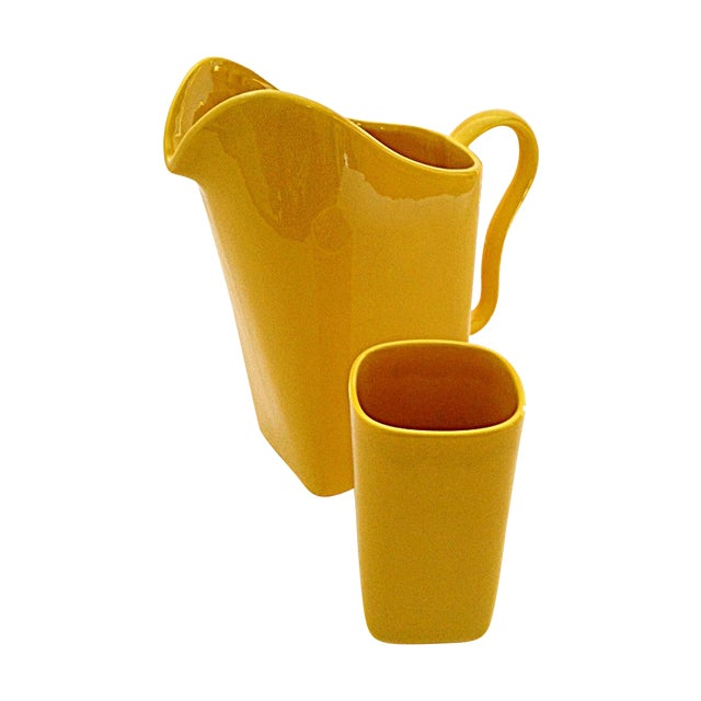 Franciscan Yellow Pitcher and Cup Set - Image 1 of 9