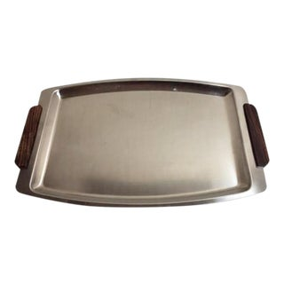 Mid-Century Modern Stainless Steel Serving Tray