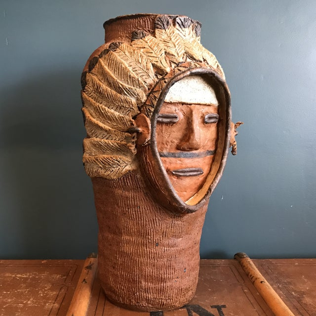Indian Head Ceramic Vase - Image 3 of 9