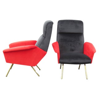Zanuso Style Metal Leg Lounge Chairs - A Pair