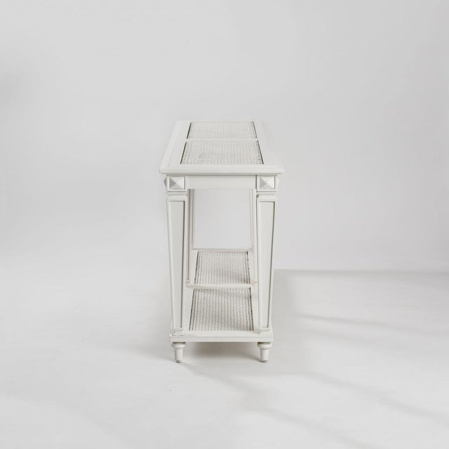New White Caned Console Table - Image 3 of 5