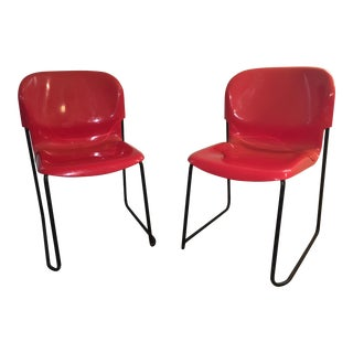 Cassina Nova RedStacking Shell Chairs - A Pair